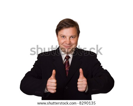 Smiling happy businessman, isolated on white background - stock photo