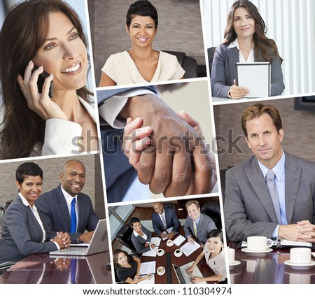 Smiling happy businessmen and women in a meeting, on computer phone shaking hands - stock photo