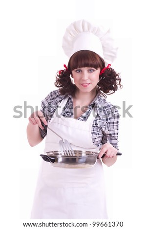 Smiling happy cook woman holds a frying pan - stock photo