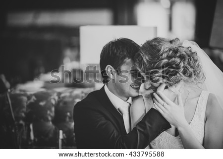 smiling happy couple relaxing after dance - stock photo