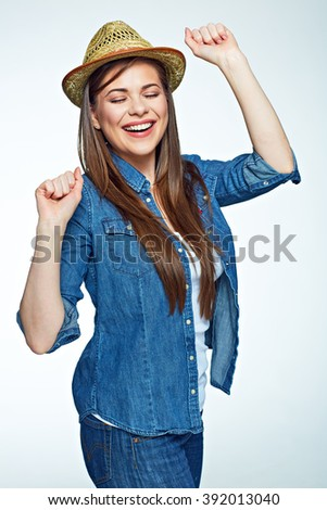 Smiling happy emotional woman white background isolated. Girl with long hair.
