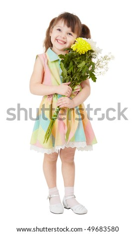 Smiling happy girl with a big bouquet of asters in the hands - stock photo