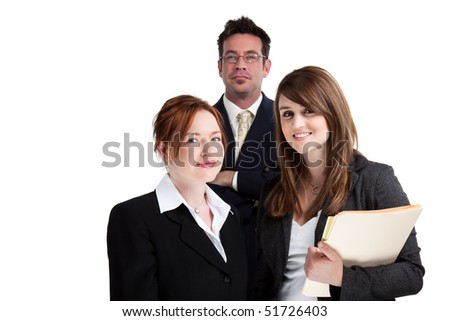 Smiling, happy group of young business people, isolated studio image