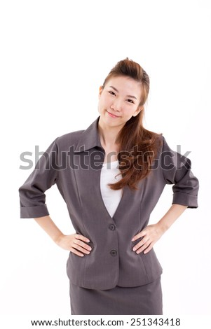 smiling, happy, joyful, cheerful, successful business woman isolated - stock photo