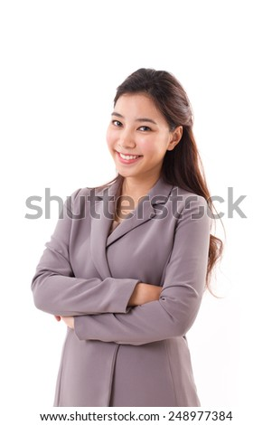 smiling, happy, positive business woman with eyeglasses looking at you, white isolated background - stock photo