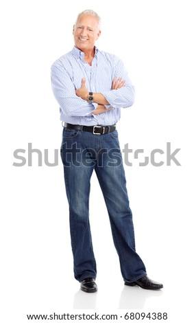Smiling happy senior  man. Isolated over white background - stock photo
