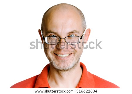 Smiling happy unshaven man on a white background with glasses - stock photo