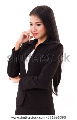 smiling happy woman business executive thinking