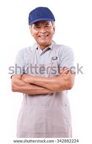 smiling happy worker, arm crossing - stock photo