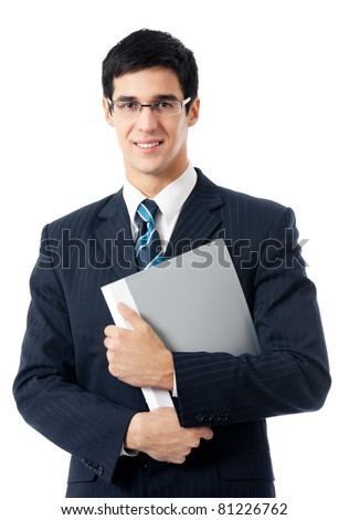 Smiling happy young business man with folder, isolated on white background