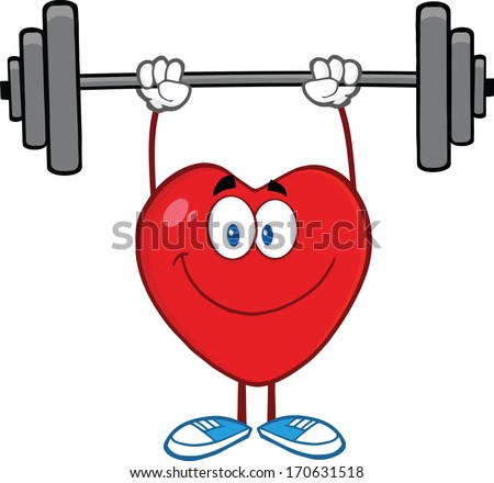 Smiling Heart Cartoon Mascot Character Lifting Weights. Raster Illustration Isolated on white - stock photo