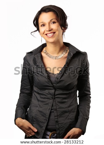 smiling hispanic business woman isolated on white