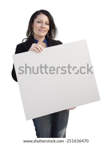 Smiling Hispanic Woman Holding Blank Sign Isolated On White. - stock photo