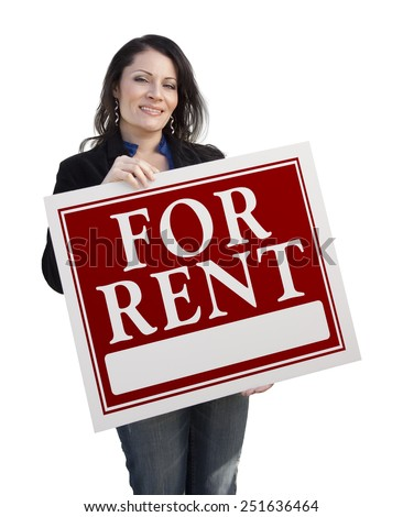 Smiling Hispanic Woman Holding For Rent Sign Isolated On White. - stock photo