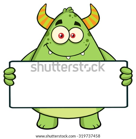 Smiling Horned Green Monster Cartoon Character Holding A Blank Sign. Raster Illustration Isolated On White - stock photo