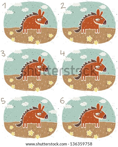 Smiling Hyena Visual Game for children. Task: Find two identical images (match the pair)! Answer: No. 1 and 4. (for vector see image 114705118) - stock photo