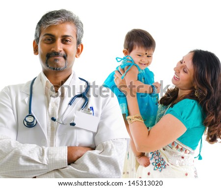 Smiling Indian medical doctor and patient family. Health care concept. Isolated on white background. - stock photo