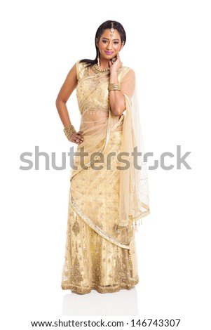 smiling indian woman in saree costume isolated on white