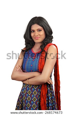 Smiling indian woman with arms crossed against white background