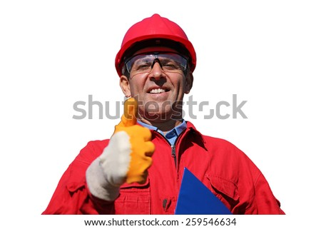 Smiling Industrial Worker Over White Background. Worker in red hard hat and coveralls gesturing thumb up. Oil and gas engineer. Portrait Of A Smiling Worker.  Isolated On White Stock Photo - stock photo
