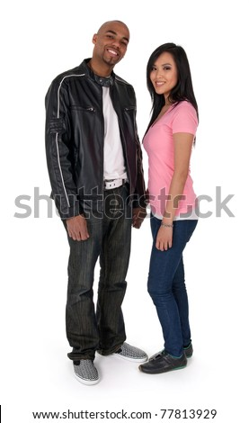 Smiling interracial couple - African American guy with Asian girlfriend.