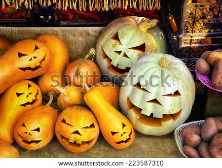Smiling Jack-O-Lantern. Close-up of many small pumpkins - stock photo