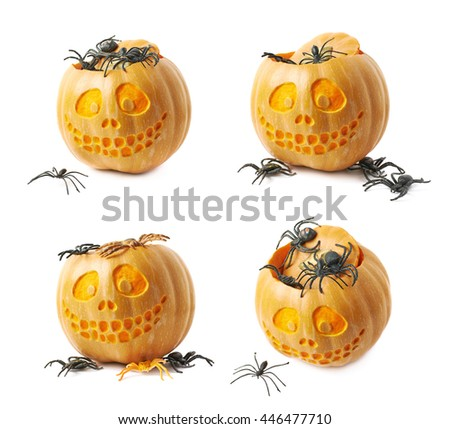 Smiling Jack-O-Lantern pumpkin filled with toy spiders, composition isolated over the white background, set of four different foreshortenings - stock photo