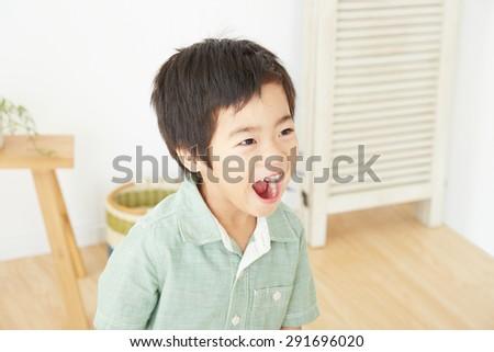smiling Japanese children - stock photo