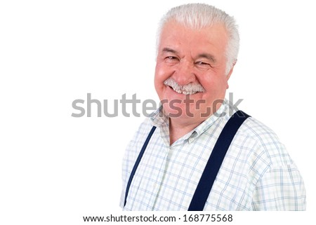 Smiling jovial senior grey-haired man wearing braces looking at the camera with a beaming smile, isolated on white with copyspace - stock photo