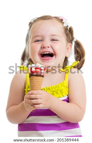 smiling kid girl eating icecream - stock photo