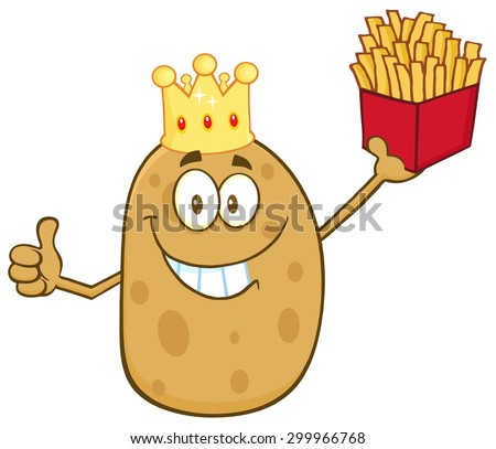 Smiling King Potato Cartoon Character Holding Fries And Giving A Thumb Up. Raster Illustration Isolated On White - stock photo