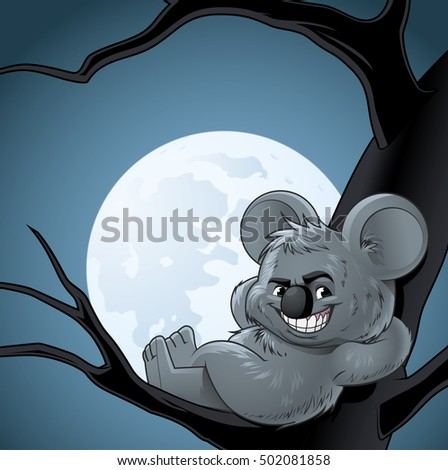 Smiling koala leaning on a tree at night