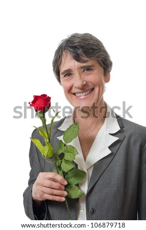 smiling lady holding rose on white background - stock photo