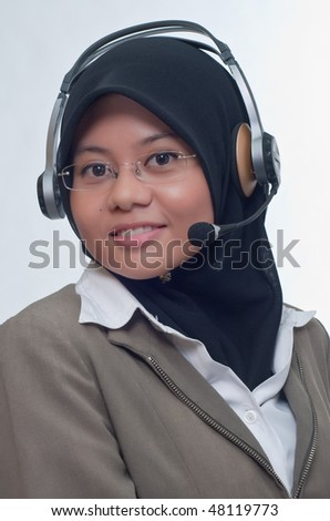smiling lady with headphone - stock photo