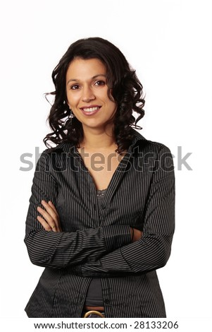 smiling latin business woman isolated on white