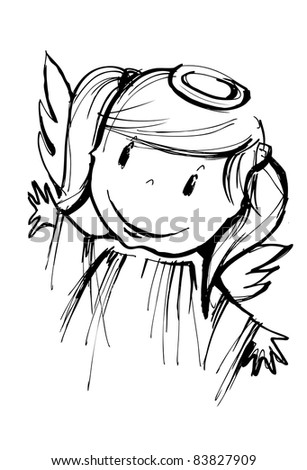smiling little angel, a child's coloring book illustration - stock photo