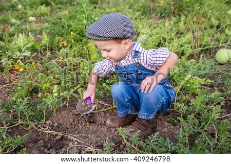 Smiling little boy digging in vegetables garden