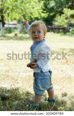 Smiling little boy dressed in ukrainian embroidered costume outddor - stock photo