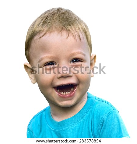 smiling little boy isolated on white background