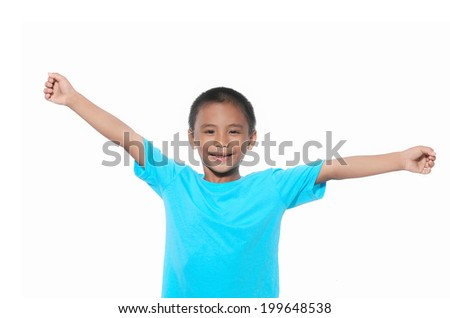 smiling little boy raised his hands up