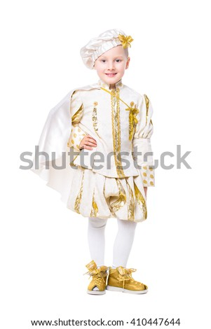 Smiling little boy wearing like a prince. Isolated on white - stock photo