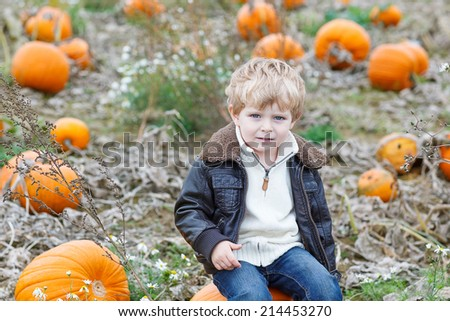 Smiling little child sitting on pumpkin patch on cold autumn day, with a lot of pumpkins for halloween or thanksgiving