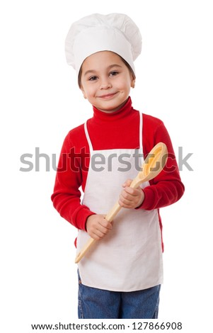 Smiling little cook with big ladle in hands, isolated on white - stock photo
