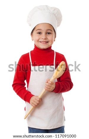 Smiling little cook with ladle, isolated on white - stock photo