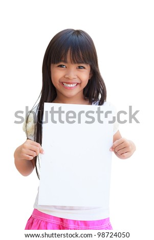 Smiling little girl holding empty white paper, Isolated on white - stock photo