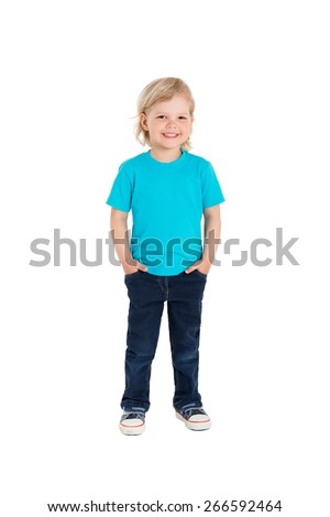 Smiling little girl in blue t-shirt isolated on a white background - stock photo