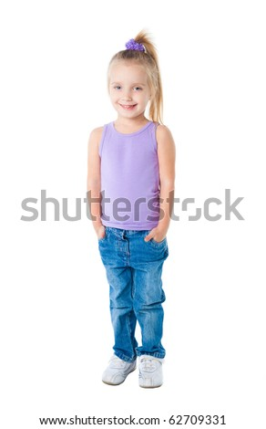 smiling little girl in purple t-shirt isolated - stock photo