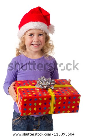 Smiling little girl in Santa's hat with red gift box, isolated on white