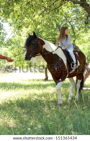 Smiling little girl walking with a charming pony in the apple garden/Pony - stock photo