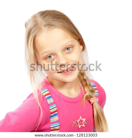 smiling little girl with long hair on a white background